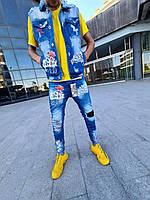Джинсы мужские весна-осень MN Jeans светло-синие с голубым