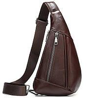 Мужская сумка-слинг кожаная 14737 Vintage Коричневая, фото 1