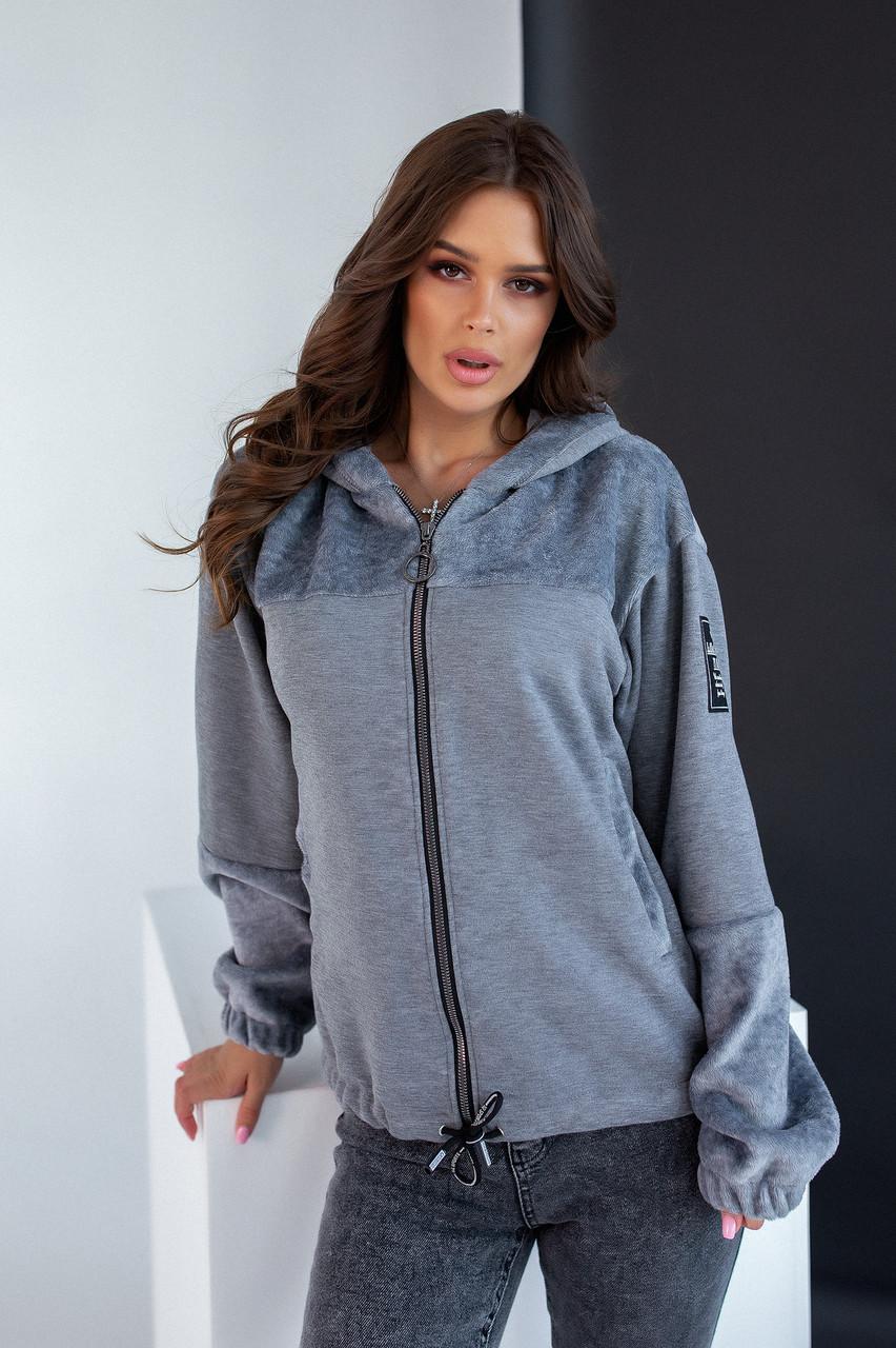 Куртка-бомбер серого цвета