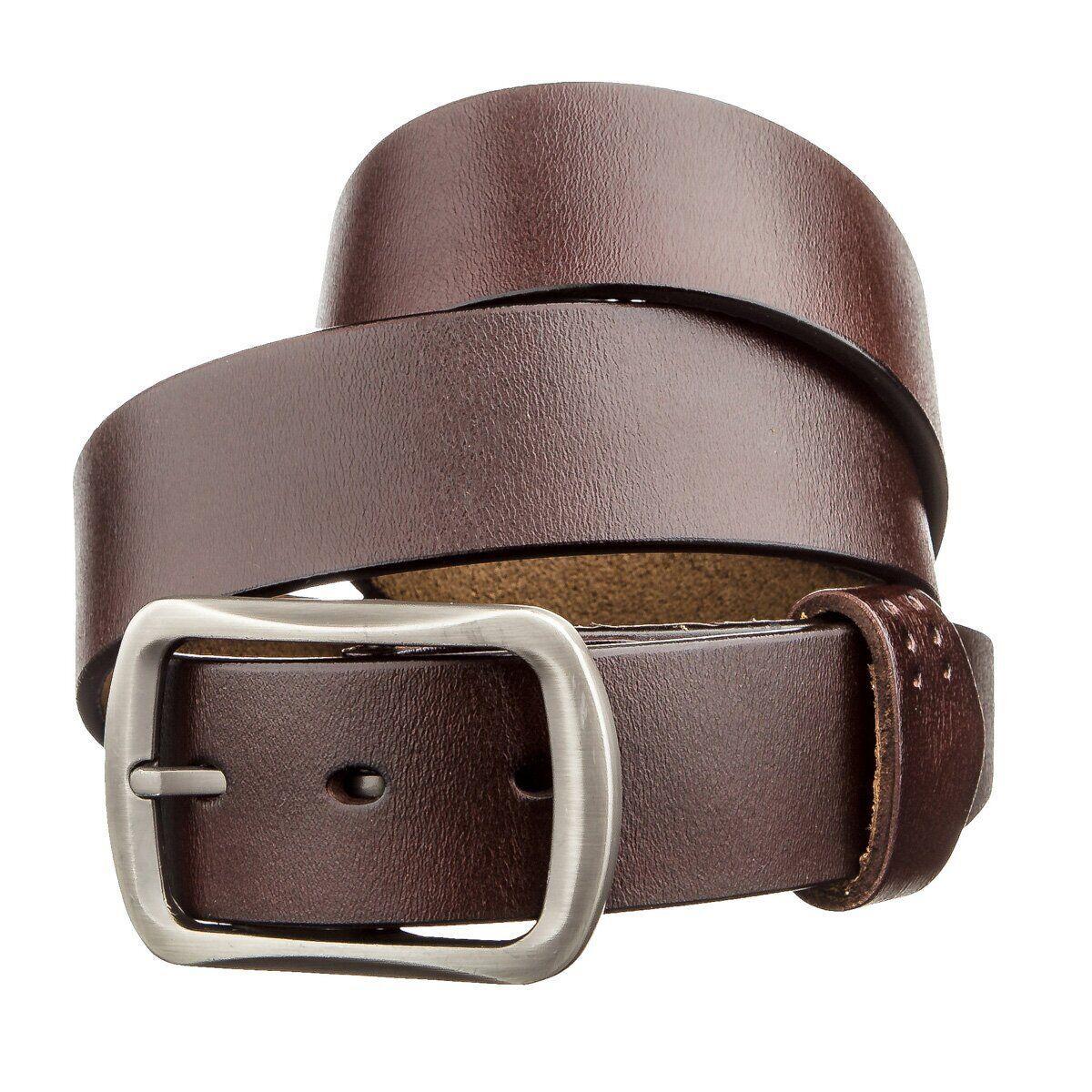 Мужской кожаный ремень с закругленной классической пряжкой Vintage 20230 Коричневый