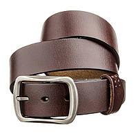 Мужской кожаный ремень с закругленной классической пряжкой Vintage 20230 Коричневый, фото 1