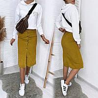8293-8 горчица Defile юбка на пуговицах вельветовая (34-40, 5 ед.), фото 1