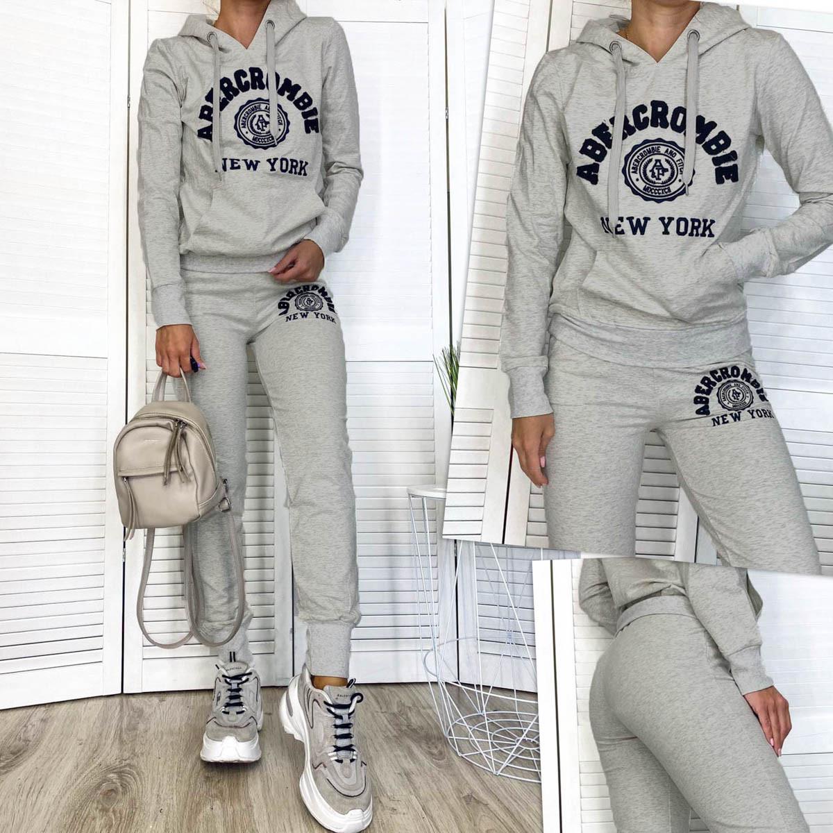 1109-1 серый женский спортивный костюм из двунитки (M,L,XL, 3 ед.)