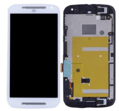 Дисплей (екран) для Motorola XT1064 Moto G (2nd Gen) з сенсором (тачскріном) і рамкою білий Оригінал