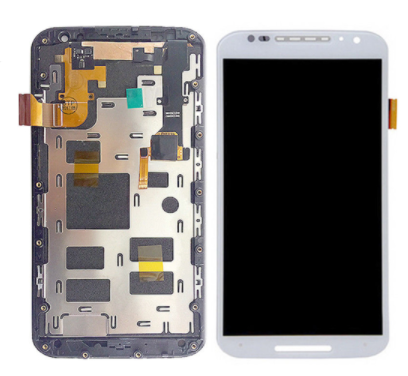 Дисплей (екран) для Motorola XT1096 Moto X (2nd Gen) з сенсором (тачскріном) і рамкою білий, фото 2