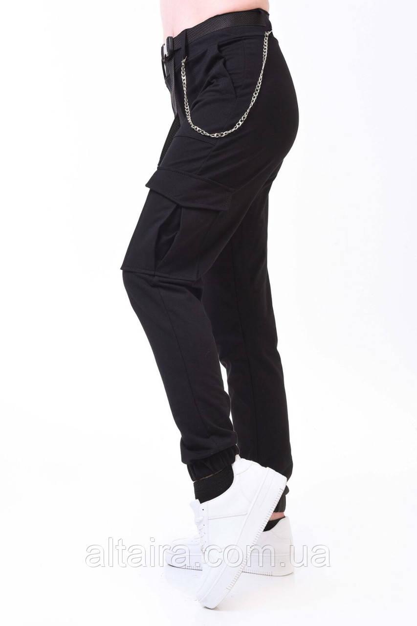 Женские стильные карго джокеры черного цвета. Размеры S, M, L, XL