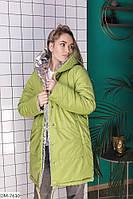 Двухсторонняя теплая женская куртка на зиму с капюшоном арт 0257