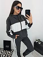 Женский спортивный костюм штаны и кофта кенгуру с капюшоном на молнии графит 42-44 46-48 50-52-54-56, фото 1