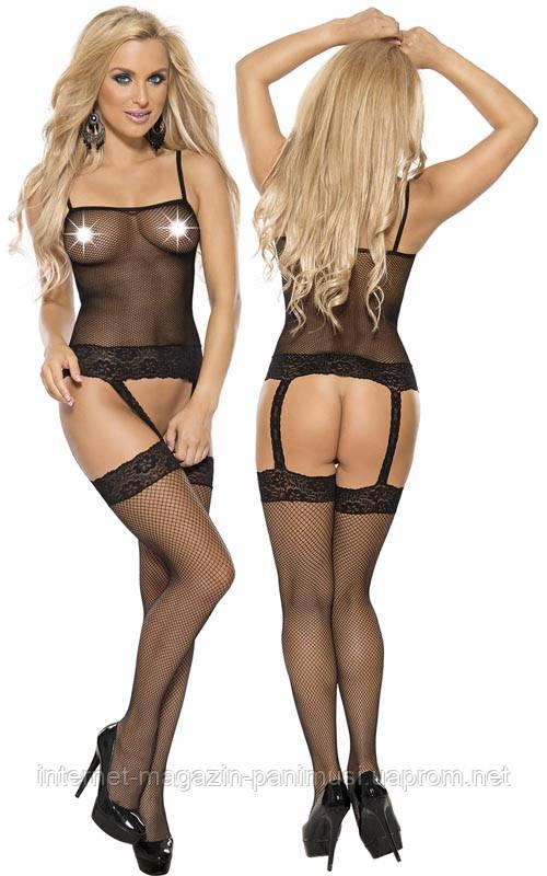 Эротические Sexy боди Roxana Fishnet Bodystockings S-M/Black