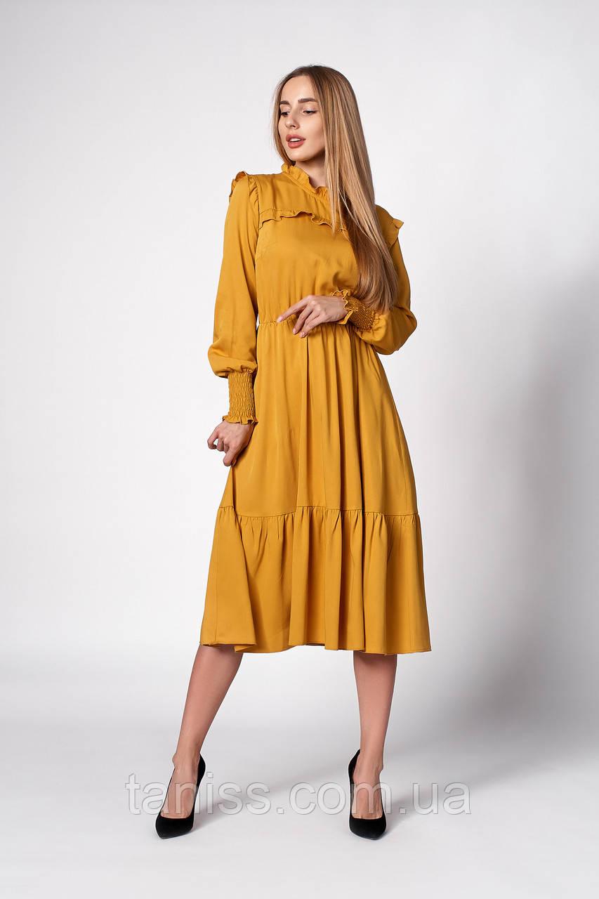 Романтичное  весеннее платье миди , ткань штапель плотный ,размеры 42,44,46,48,50  (1275.2) горчичный, сукня
