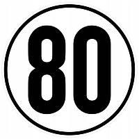 Таблиця обмеження швидкості 80 км (D=20 см), Bicma