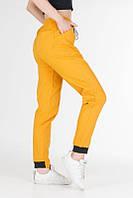Жіночі брюки джоггеры з стрейч-котону жовті, жіночі спортивні штани карго на резинці зі шнурком VS 1131, фото 1