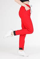 Женские брюки спортивные из стрейч-котона красные, штаны джоггеры женские на резинке со шнурком VS 1131, фото 1