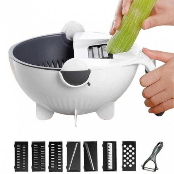 Терка-измельчитель с контейнером Basket Vegetable Cutter 7 сменных лезвий Вег каттер черно-белый