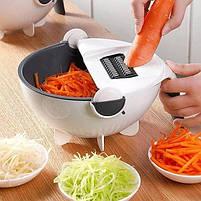 Терка-измельчитель с контейнером Basket Vegetable Cutter 7 сменных лезвий Вег каттер черно-белый, фото 4