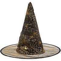 Шляпа Ведьмы с паутиной черной на Хэллоуин 45 см