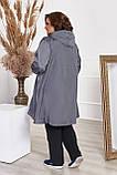 Невероятно стильный плащ свободного А-образного силуэт, разные цвета р.48-50,52-54,56-58,60-62,64-66 Код 3372Ф, фото 8