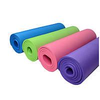 Резиновый коврик-мат для йоги фитнеса и пилатеса (однотойнный)