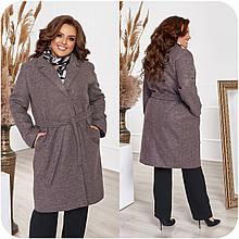 Класичне жіноче пальто осінь батал, різні кольори р. 48-50,52-54,56-58,60-62,64-66 Код 3371Ф