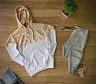 Мужской спортивный костюм Fila бежевый с серым (Спортивный костюм с капюшоном Фила бежевого цвета), фото 1