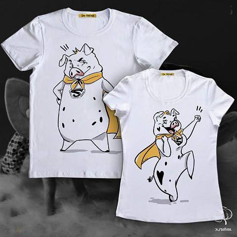"""Парные футболки Push IT с принтом """"Супер свинки"""""""