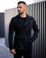 Пальто мужское демисезонное тренч из 100% коттона с поясом черного света