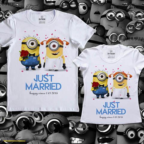"Парные футболки Push IT с принтом ""Minions. Just married"""