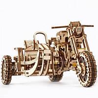 Механічний 3D-конструктор Ugears «Мотоцикл Scrambler UGR-10 з коляскою»
