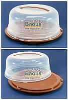 Тортовница круглая с крышкой 31х15cм пластиковая (цвет - коричневый) R Plastic, фото 1