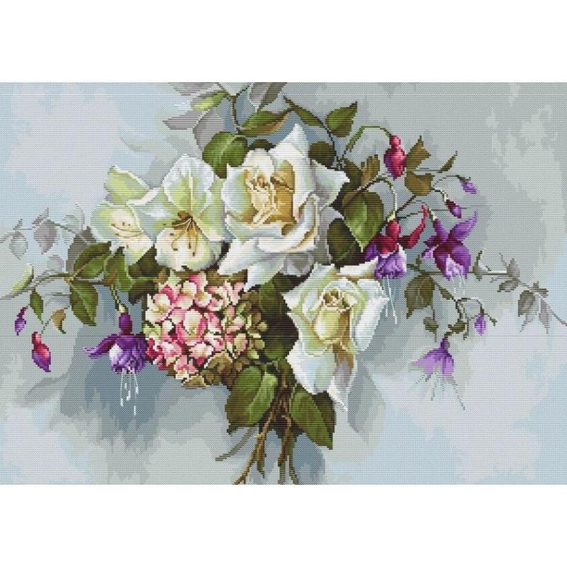 Набор для вышивания нитками Luca-S Цветы Букет с розами Aida 18 ct.