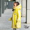 """Зимняя куртка для девочки """"Варенька"""" с меховыми варежками"""