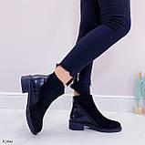 Женские ботинки ДЕМИ черные эко-замш + кожа питон, фото 4
