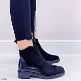 Женские ботинки ДЕМИ черные эко-замш + кожа питон, фото 3