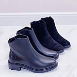 Женские ботинки ДЕМИ черные эко-замш + кожа питон, фото 5