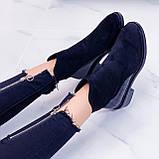Женские ботинки ДЕМИ черные эко-замш + кожа питон, фото 8