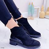 Женские ботинки ДЕМИ черные эко-замш + кожа питон, фото 2