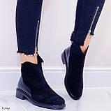Женские ботинки ДЕМИ черные эко-замш + кожа питон, фото 6