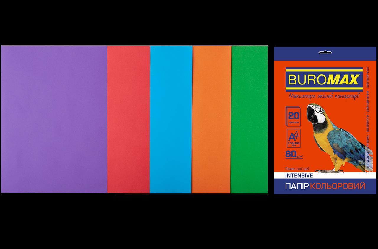 Набор цветной бумаги BUROMAX BM2721320-99 А4, 80г/м2, INTENSIVE, 5 цв., 20 листов