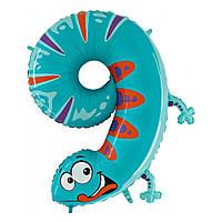 """40"""" Цифра """"9"""" Ящерица (100 см) Grabo Италия шар фольгированный"""