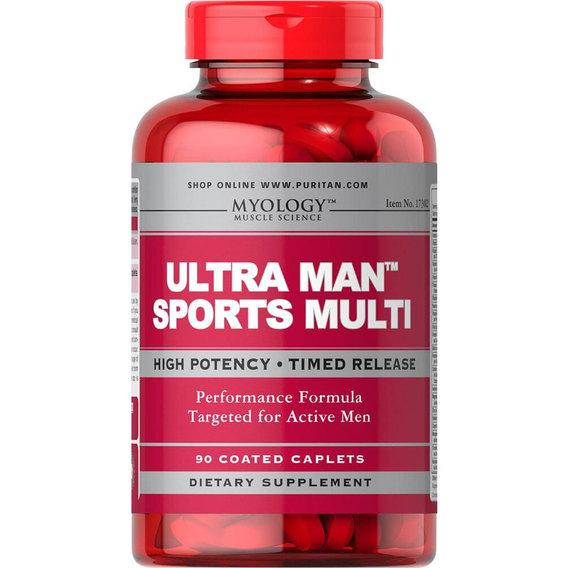 Puritan's Pride Ultra Man Sports Multivitamins, Myology, Мужские витамины (90 таб.)