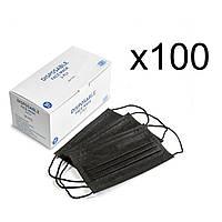 Медицинские маски с зажимом для носа черные (100 шт)