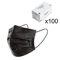 Маски медицинские черные с фиксатором для носа (100 шт)