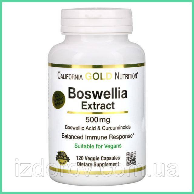 California Gold Nutrition, Экстракт босвеллии, с экстрактом куркумы, 500 мг, 120 растительных капсул