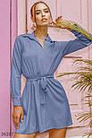 Офисное платье с воротником синее, фото 2