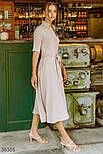 Платье на запах с отложным воротником бежевое, фото 3