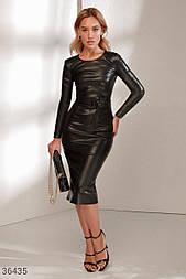 Кожаное платье-футляр длины миди