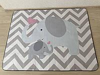 """Ковер в детскую """"Мама слоник и малыш"""" утепленный коврик мат (1.5*2 м)"""