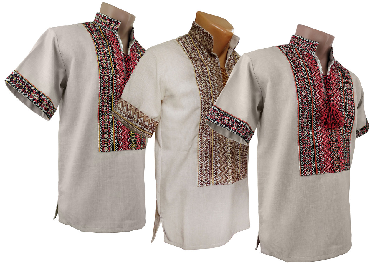 Вышитая мужская рубашка изо льна с коротким рукавом с классической вышивкой