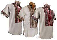 Вышитая мужская рубашка изо льна с коротким рукавом с классической вышивкой, фото 1