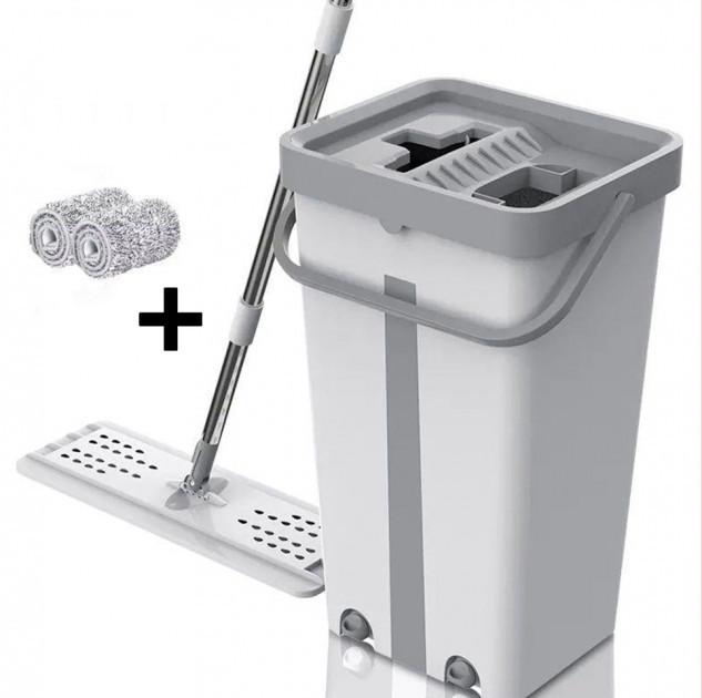 Комплект для прибирання відро і швабра-ледащо з віджимом EasyMop світло-сірий